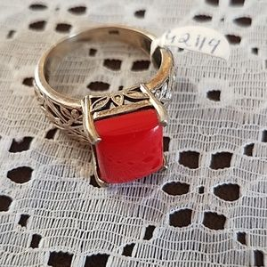 Sterling Silver Red Ring